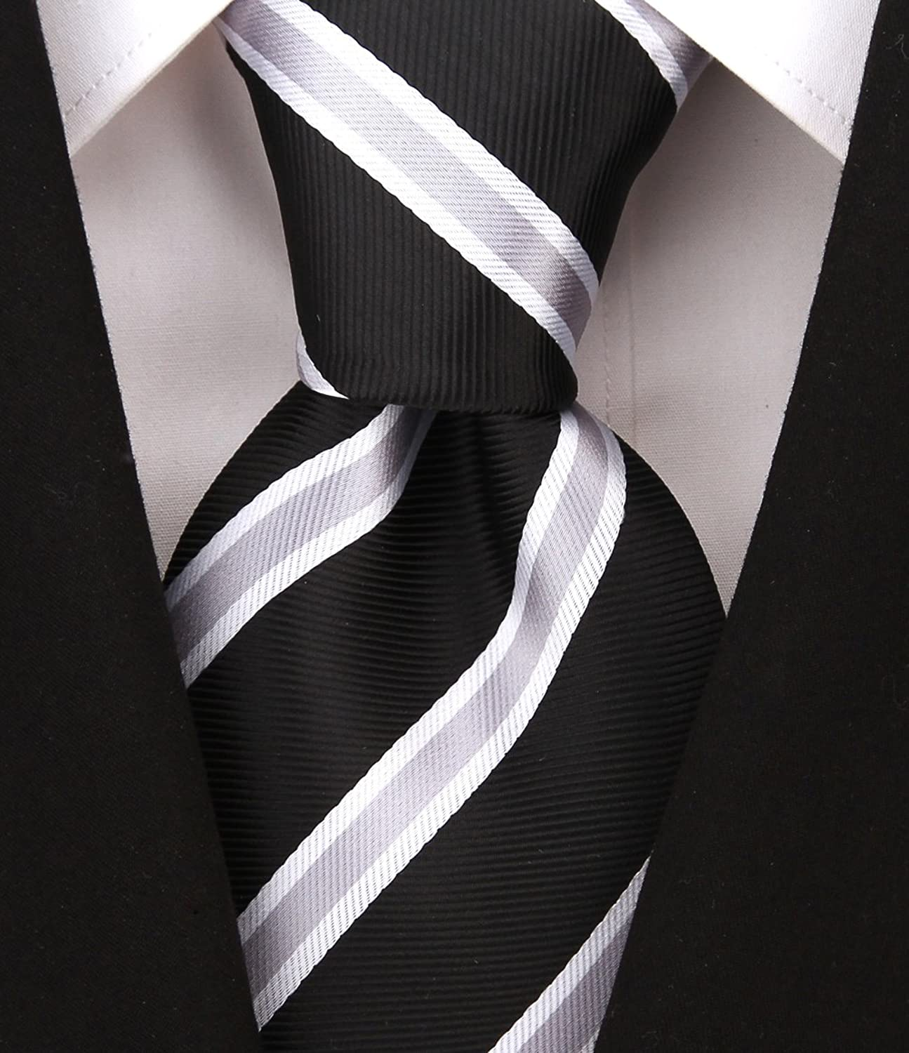 Victorian Men's Tuxedo, Tailcoats, Formalwear Guide Scott Allan Mens Striped Necktie $11.99 AT vintagedancer.com