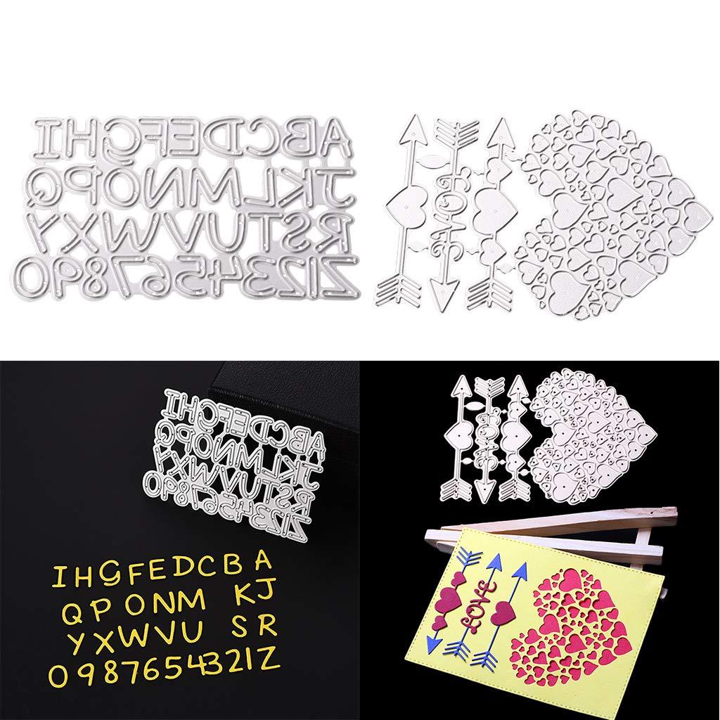 P Prettyia Troqueles de Corte de Corazones y Alfabetos Fabricaci/ón de Tarjetas DIY