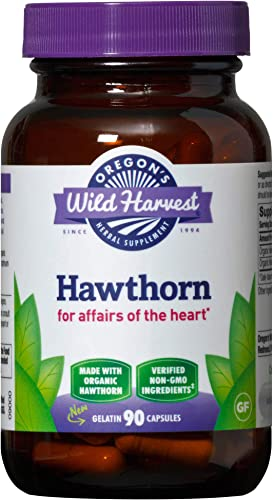 Oregon s Wild Harvest, Certified Organic Hawthorn Capsules for Heart Health, 1200 mgs, 90 Ct