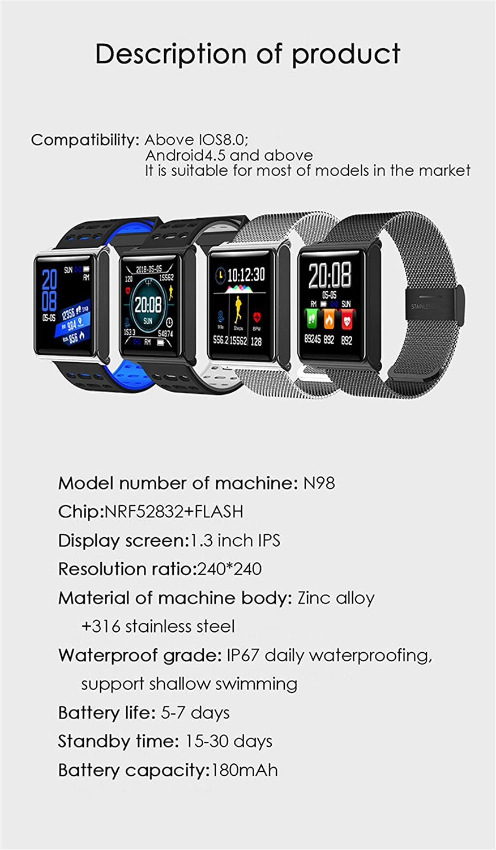 CCYOO Smartwatch N98 2.5D OLED Cristal De La Pantalla Presión De Oxígeno En La Sangre IP67 Impermeable Actividad Rastreador Reloj Inteligente,Silver: ...