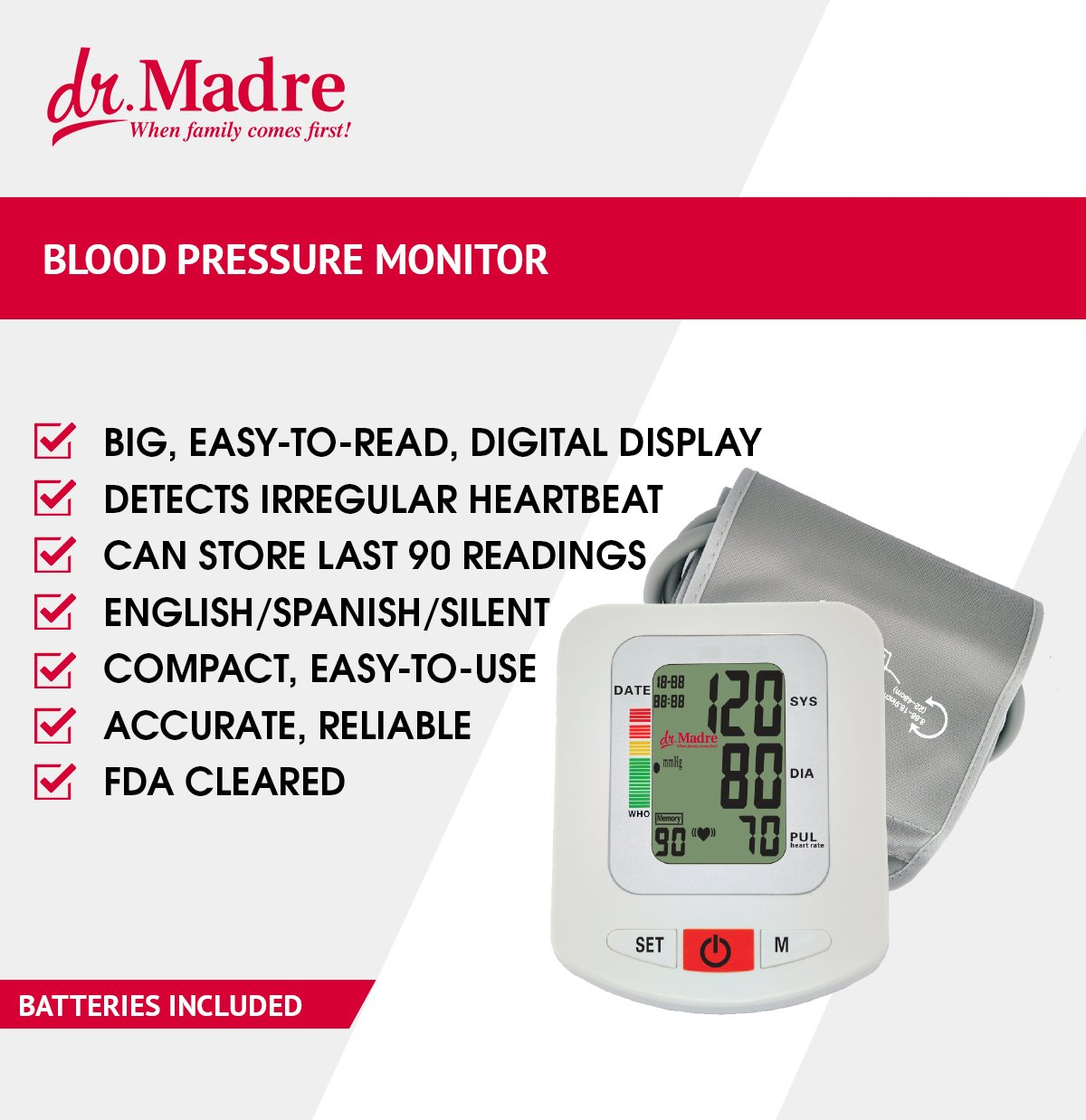 Dr. Madre Blood Pressure Monitor with Adjustable Cuff 9-16 inch Upper Arms - Accurate Simple Automatic One Touch Talking with Time & Date Stamp and 90 Memory Recall
