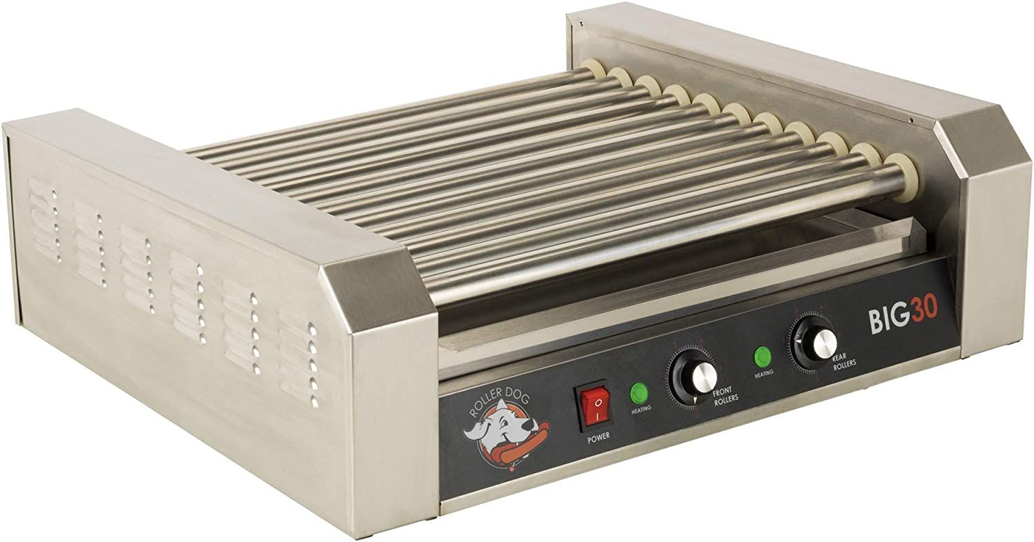 "Roller Dog RDB30SS hot dog cooker, 23"" L x 18 3/4"" W x 8"" H, Stainless Steel"