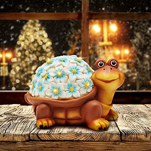 Petrala Solar Turtle Figurine Lights Garden Decor 9 LEDs Small Outdoor Lighting for Yard Patio House Gifts Halloween Decoration