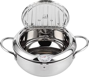 Deep Frying Pan, Japanese-style Stainless Steel Tempura Fryer Pan Deep Frying Pot with Thermometer Induction Cooker Chicken Pot Cooking Tools for Kitchen Cooking(L 24cm)