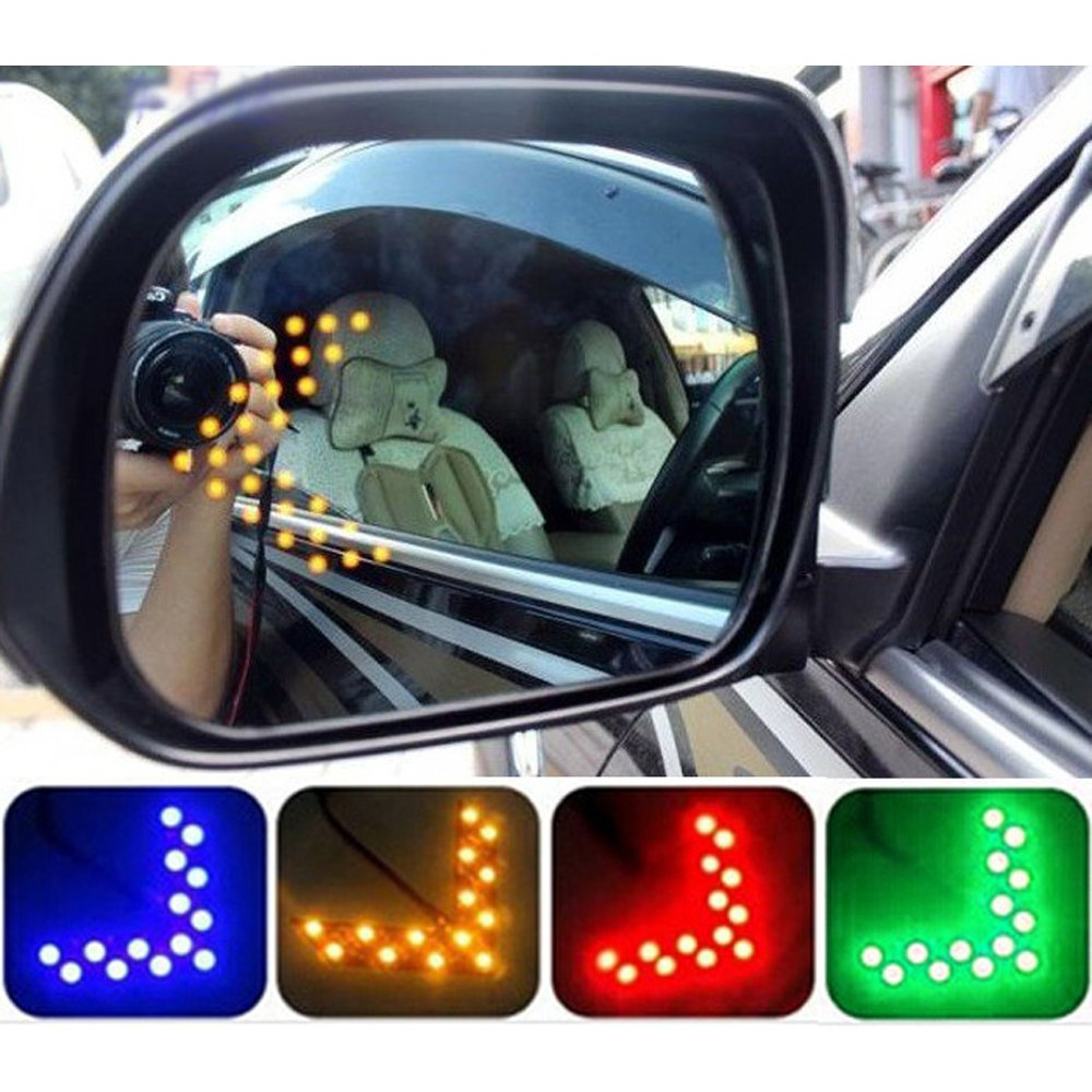 green COGEEK 2 Pcs Car Styling 14 SMD LED Arrow Panel For Car Rear View Mirror Indicator Turn Signal Light Car Led Parking