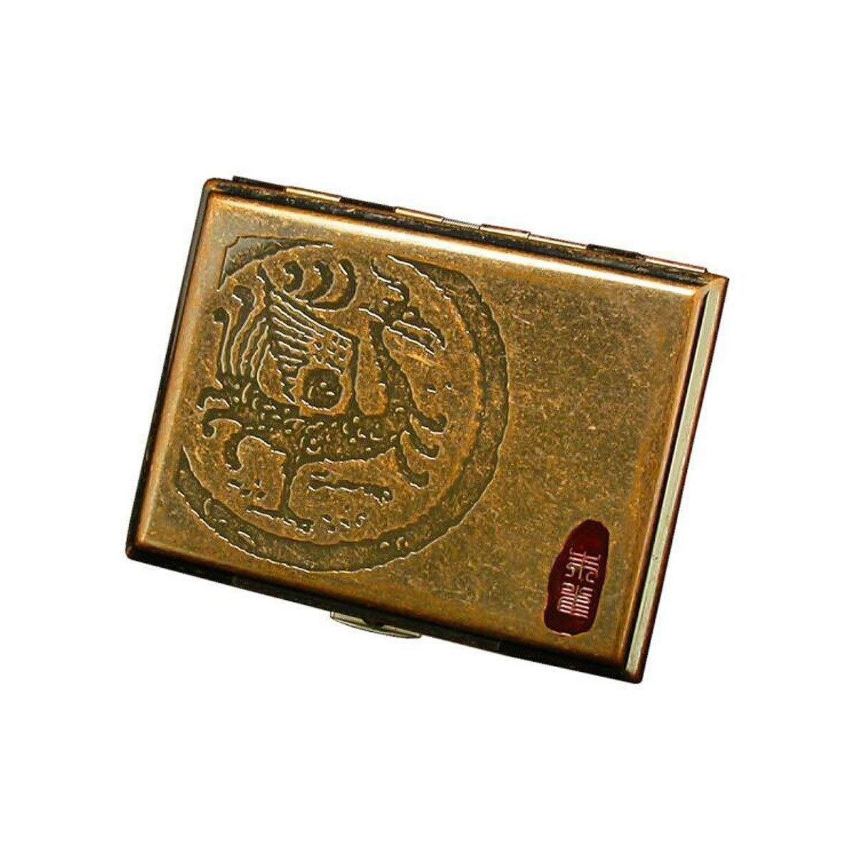 KALMAR Cigarette Case 16 Sticks, Portable Simple Retro Cigarette Case Creative Retro Copper, Ancient Beast, Suzaku, Qinglong White Tiger, Xuanwu Cigarette Case, Is The Ideal Gift For Smokers Cigarette