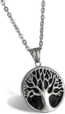 Edelstahl Damen Herren Silber Halskette Schmuck Kette Lebensbaum Anhänger