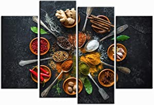 Nachic Wall 4 Piece Vintage Kitchen Wall Art Colorful Spice in Spoon Pictures Still Life Food Photo Painting on Canvas for Dining Room Restaurant Decor Gallery Canvas Wrapped Ready to Hang