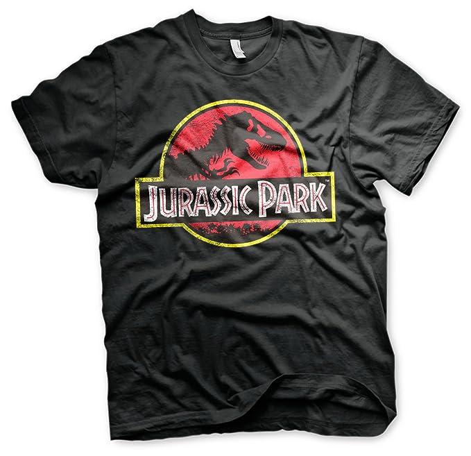 Oficialmente Licenciado Jurassic Park Distressed Logo Hombre Camiseta (Negro), Small