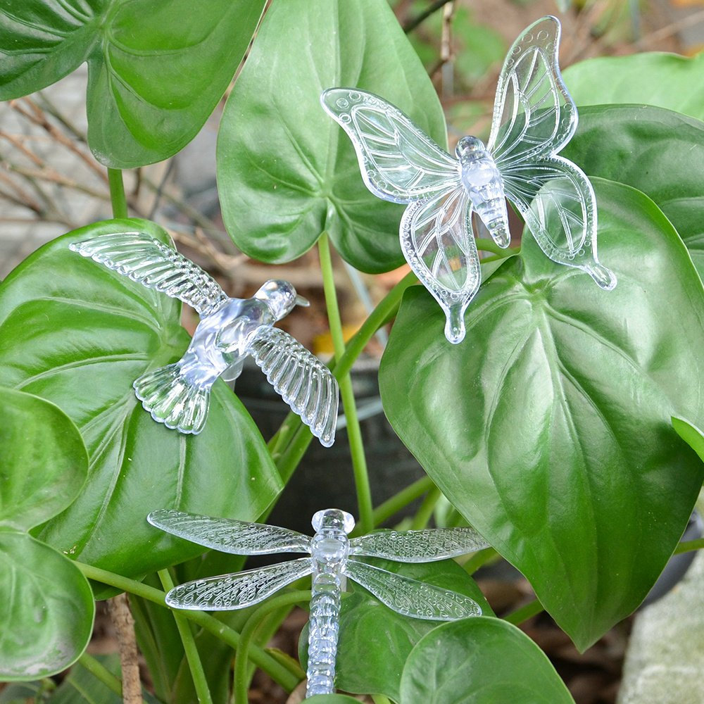 3 Pack Solar Powered Color Changing Stake Lights Outdoor Solar Garden LED Light Waterproof Butterfly Decorative Night Lights With a White LED Light Stake For Lawn// Yard// Path// Driveway Fding FD-OSL-01