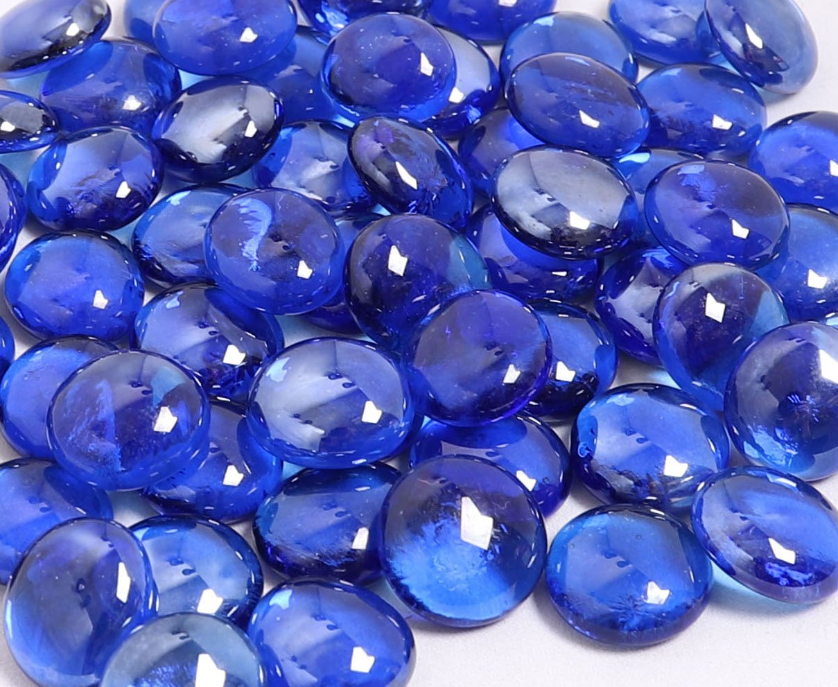 KIBOW 10-Pound Pack Fire Glass Beads Fire Glass Drops for Gas Fire Pit, 3/4 Inch-Cobalt Blue
