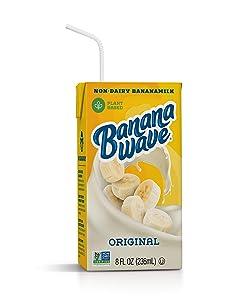 Banana Wave Banana Milk | Vegan Oat Milk, Gluten Free, Vitamins, Fiber & Potassium, Dairy Free, Low Calorie, Plant Based, Fat Free, Non-GMO | Original Flavor, 8 Fl Oz Lunchbox Size (12 Pack)