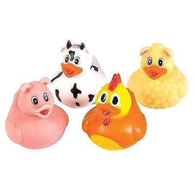 Lot Of 12 Assorted Farm Barnyard Animal Design Rubber Ducks Duckies