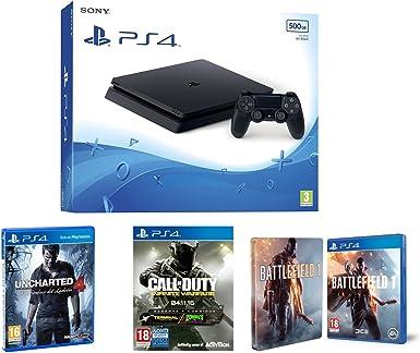 PlayStation 4 Slim (PS4) 500 GB - Consola + Call Of Duty: Infinite Warfare + Uncharted 4 + Battlefield 1 + Steelbook (Exclusivo en Amazon): Amazon.es: Videojuegos