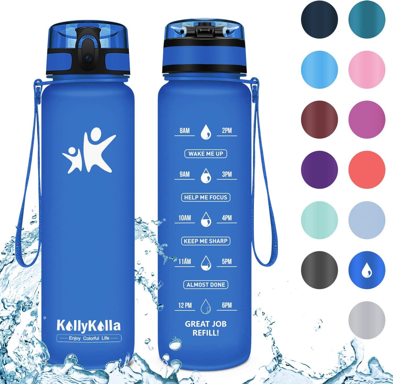 KollyKolla Botella Agua Sin BPA Deportes - 350ml/500ml/800ml/1L/1.5L, Reutilizables Ecológica Tritan, Bebidas Botellas con Filtro & Marcador de Tiempo, para Niños y Adultos, Tapa Abatible de 1 Cli