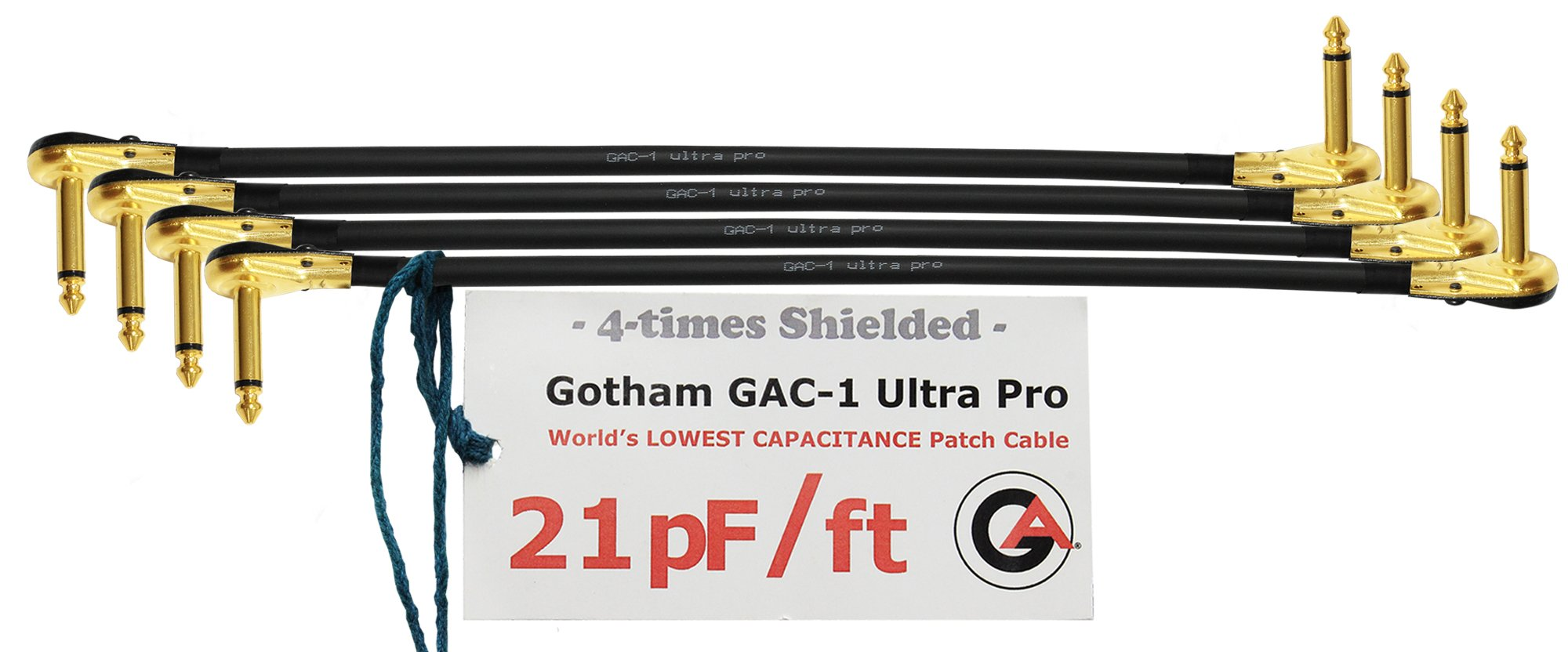 4 Units - 2 Foot - Gotham GAC-1 Ultra Pro - Low-Cap (21pF/ft) Guitar Bass Effects Instrument, S-Shaped Patch Cable & Gold (6.35mm) Low-Profile R/A Pancake Plugs - CUSTOM MADE By WORLDS BEST CABLES