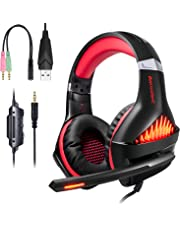 ShinePick Auriculares Gaming, 3.5mm Cancelación De Ruido Gaming Headset, Juego Auriculares con Micrófono para Nintendo Switch Xbox One PS4 Portátil Mac Tablet (Rojo)