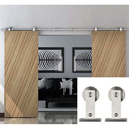 Puerta corredera Hahaemall con cierre de rodillo básico, puerta deslizante resistente, kit