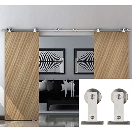 Hahaemall Classic Stainless Steel Interior Double Sliding Barn Door Hardware  Track Roller Wood Door Kit Heavy