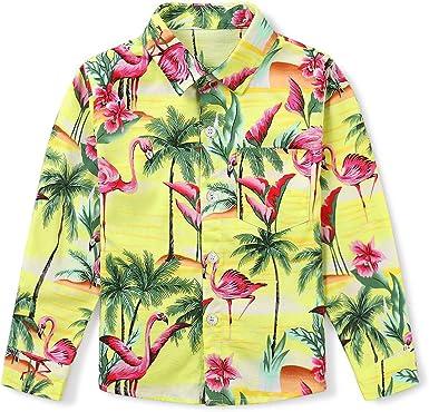 Phorecys - Camisa hawaiana de manga larga para niños de 3 a ...