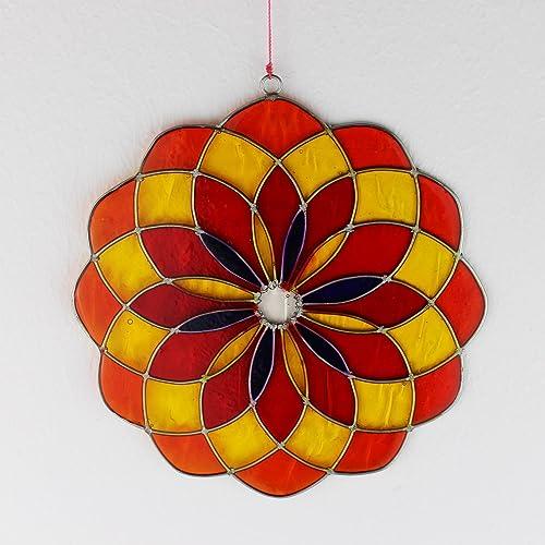 Fensterdeko Mandala Aus Resin Rot Gelb Fenster Deko Zum Aufhängen