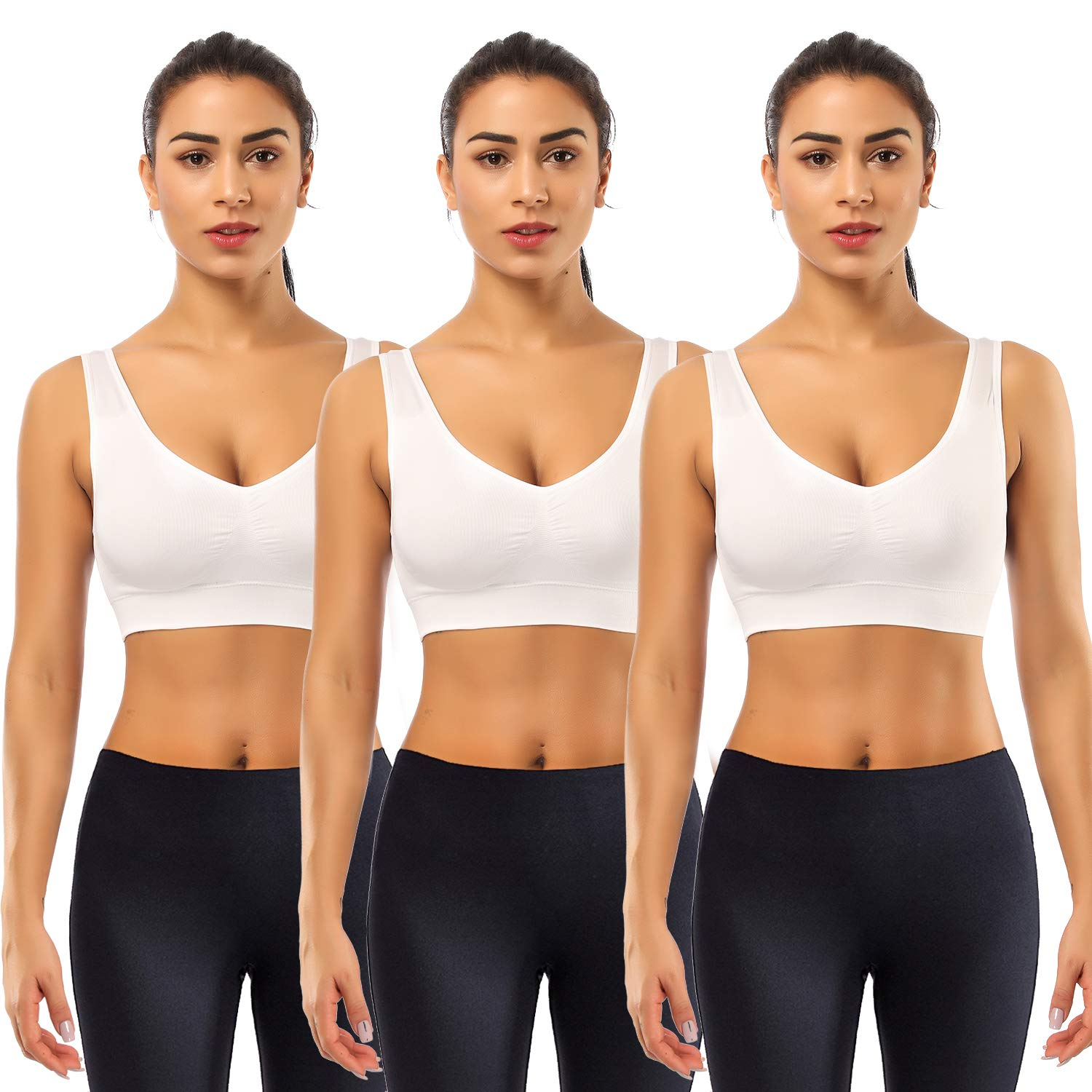 BESTENA Sports Bras for Women, 3 Pack Seamless Comfortable Yoga Bra with Removable Pads(White,Small)