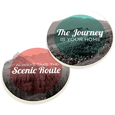 Always Take the Scenic Route 2 Piece Ceramic Car Coasters Set