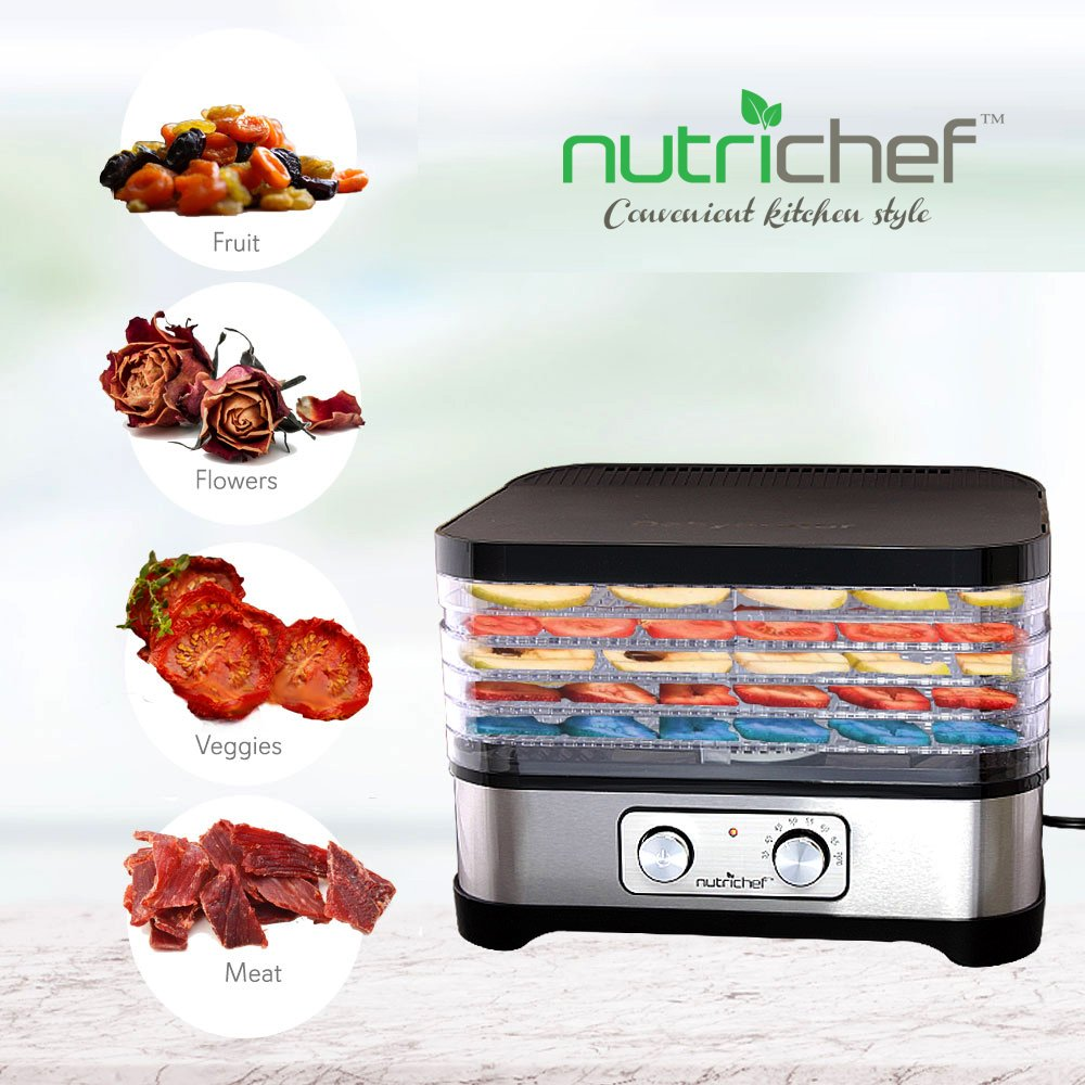 Multi Tier Food Dehydrator Machine - 250 Watt Professional Stainless Steel Electric Food Preserver with 5 Trays - Meat or Beef Jerky Maker, Fruit and Vegetable Dryer - NutriChef PKFD30 by NutriChef (Image #5)