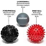 121PERFORM Massage Balls Set | Spiky, Porcupine, Lacrosse | Trigger Point Pack | Plantar Fasciitis Pain Relief | Efficient Myofascial Release for Neck, Back, Feet, Arm
