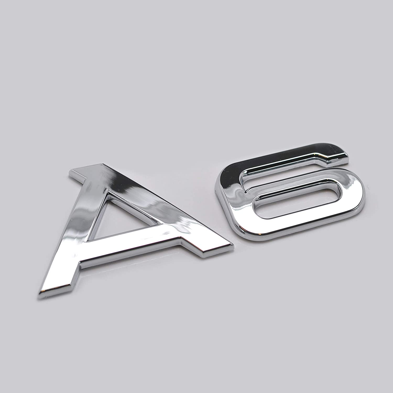 Silver Chrome A6 Lettering Rear Boot Lid Trunk Badge Emblem For A6 Models