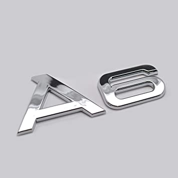 Silver Chrome A6 TDI Lettering Rear Boot Lid Trunk Badge Emblem For A6 Models