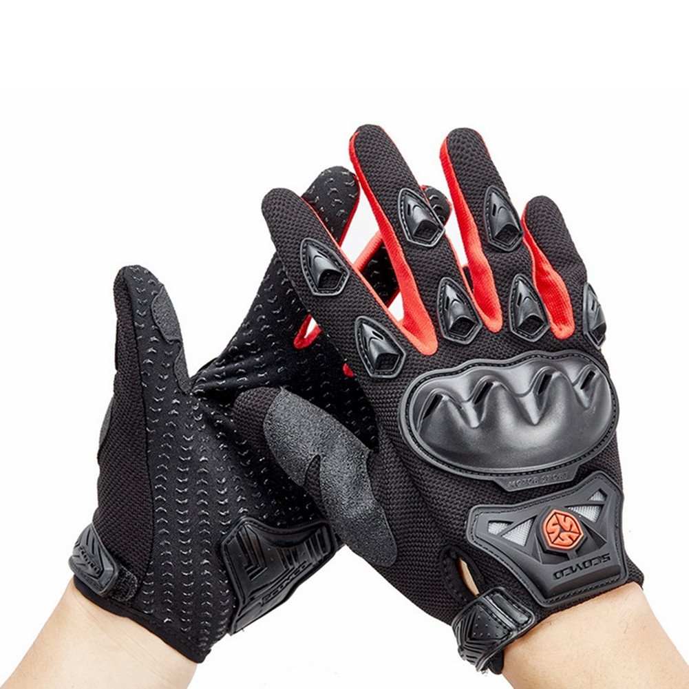 Wonzone Men's BMX MX ATV Powersports Racing Gloves Bicycle MTB Racing Off-road/Dirt bike Sports Gloves (Red, Large)