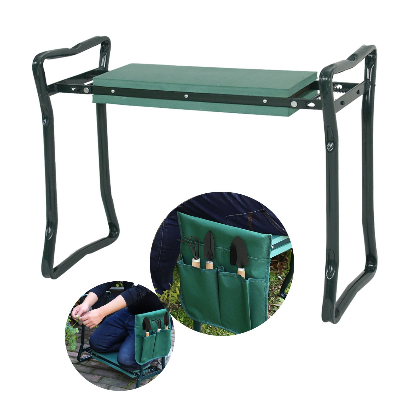 Smartxchoices Foldable Garden Kneeler Seat Bench with Pouch, Handles Multi-use Gardening Stool with Soft Kneeling Pad Heavy Duty,Green