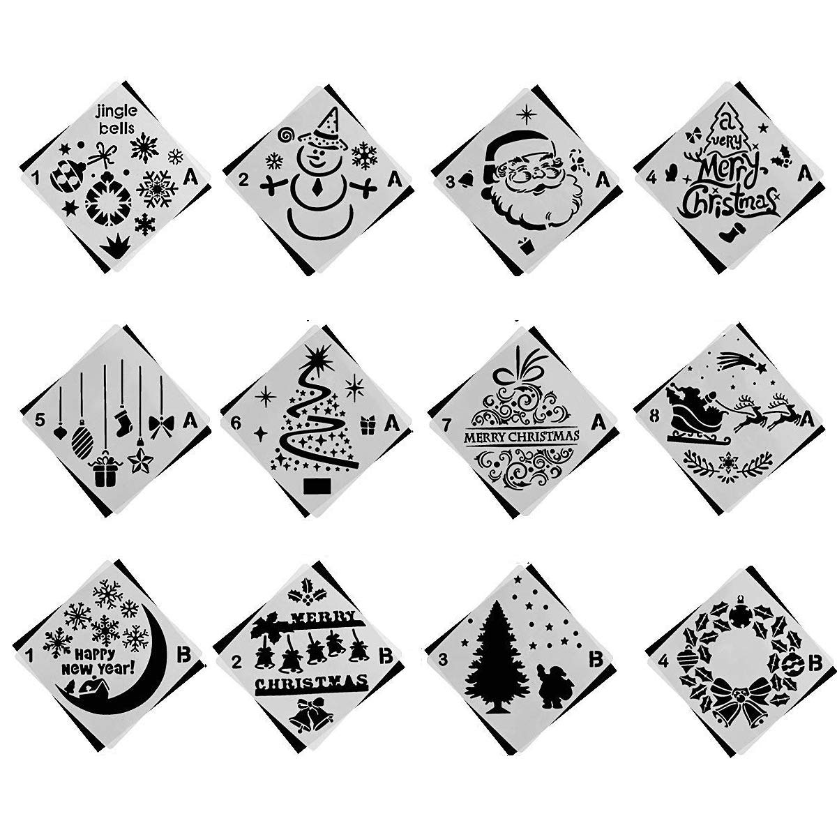 PINCHUANG 12 Pieces Christmas Bullet Journal Stencils Templates Painting Stencil for Notebook Christmas Gift Card DIY Projects, Different Styles