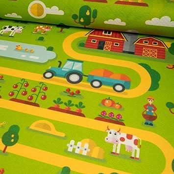 Spielteppich Nähen filzteppich bauernhof grün spielteppich kinderstoffe preis gilt
