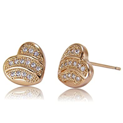 Blue Diamond Club - Womens Heart Shaped 18ct Gold Filled Stud Earrings with White Cubic Zirconia ZXPRUls