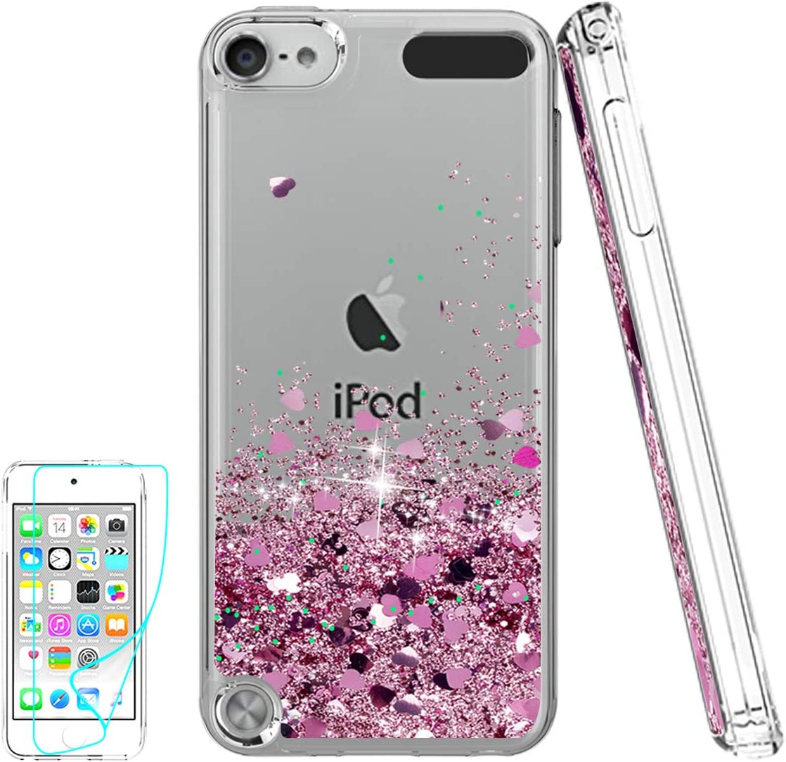 iPod Touch 7 Case, iPod Touch 6 Case, iPod Touch 5 Case with HD Screen Protector for Girls, Atump Glitter Liquid Clear Bling TPU Phone Case for Apple iPod Touch 7th/ 6th/ 5th Gen Pink