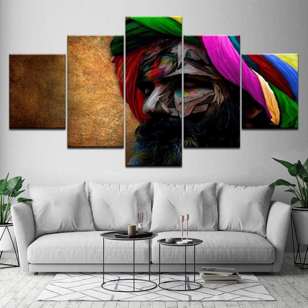 MMLFY 5 Fotos Tocados Indios Hombres Coloridos Barbas Retrato Obra de Arte Sala de Estar 5 Piezas decoración del Arte de la Pared del hogar Carteles de Tela de Madera sin Marco