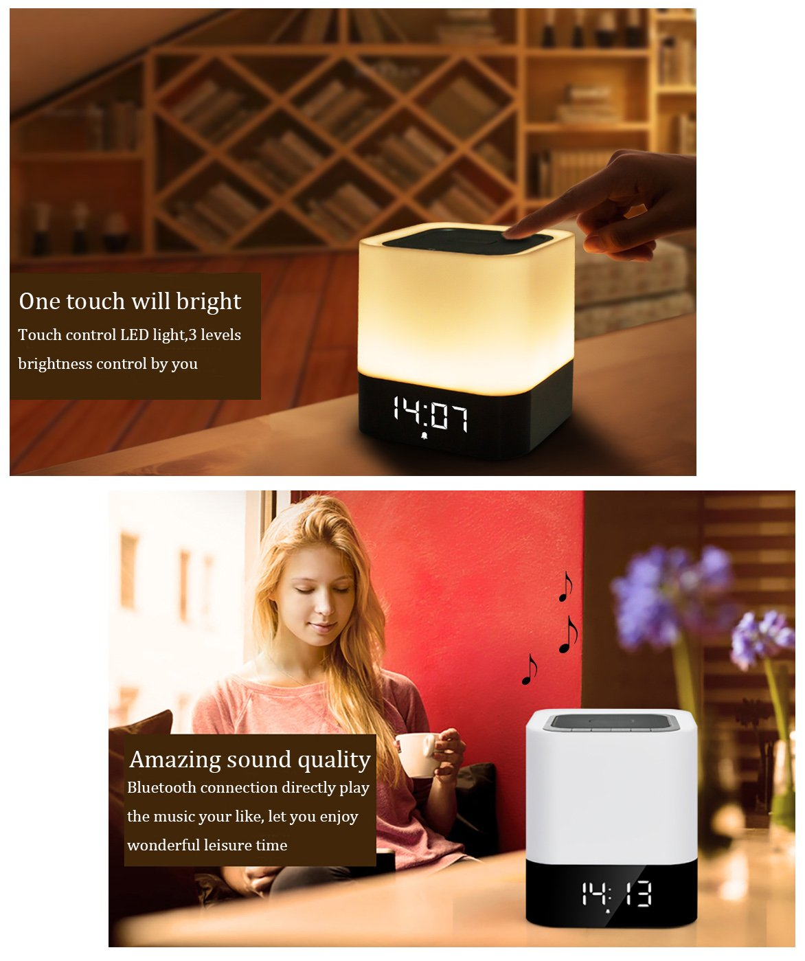 WamGra Night lights Bluetooth Speaker,Touch Sensor Bedside Lamp Dimmable Warm Light,Color Changing Bedside Lamp,MP3 Music Player,Wireless Speaker with Lights (Newest Version) by WamGra (Image #6)