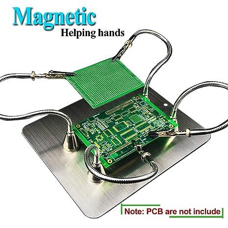 Magnético Ajustables Terceras Manos Reparación de Soldadura (magnéticos básicos, flexibles 4 brazos, base
