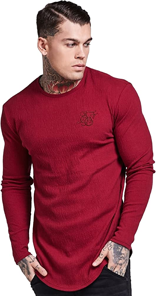 Sik Silk Siksilk - Camiseta de Manga Larga - Manga Larga - Para Hombre Rojo Granate: Amazon.es: Ropa y accesorios
