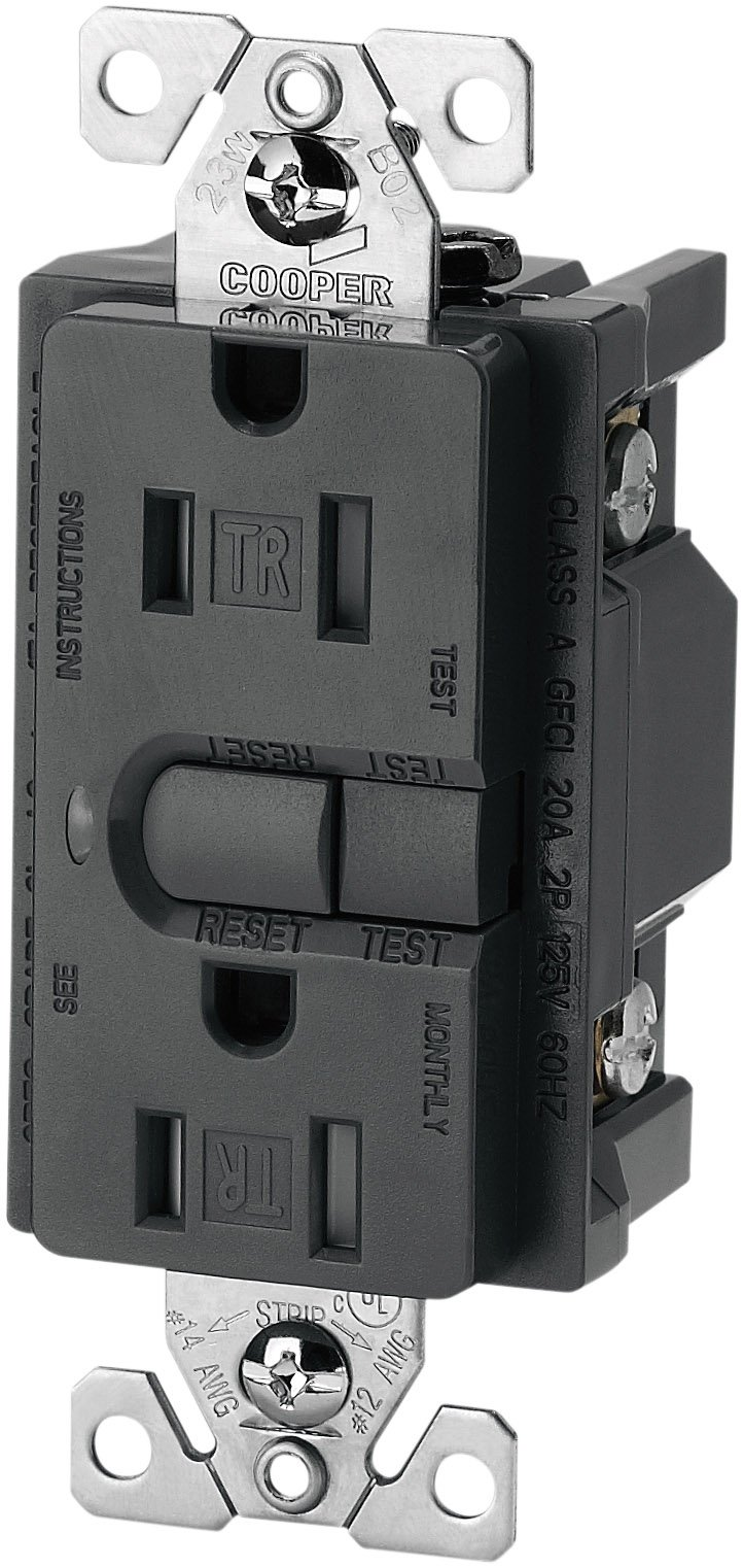 Eaton 9566TRSG ASPIRE Tamper Resistant GFCI Duplex Receptacle, Silver Granite