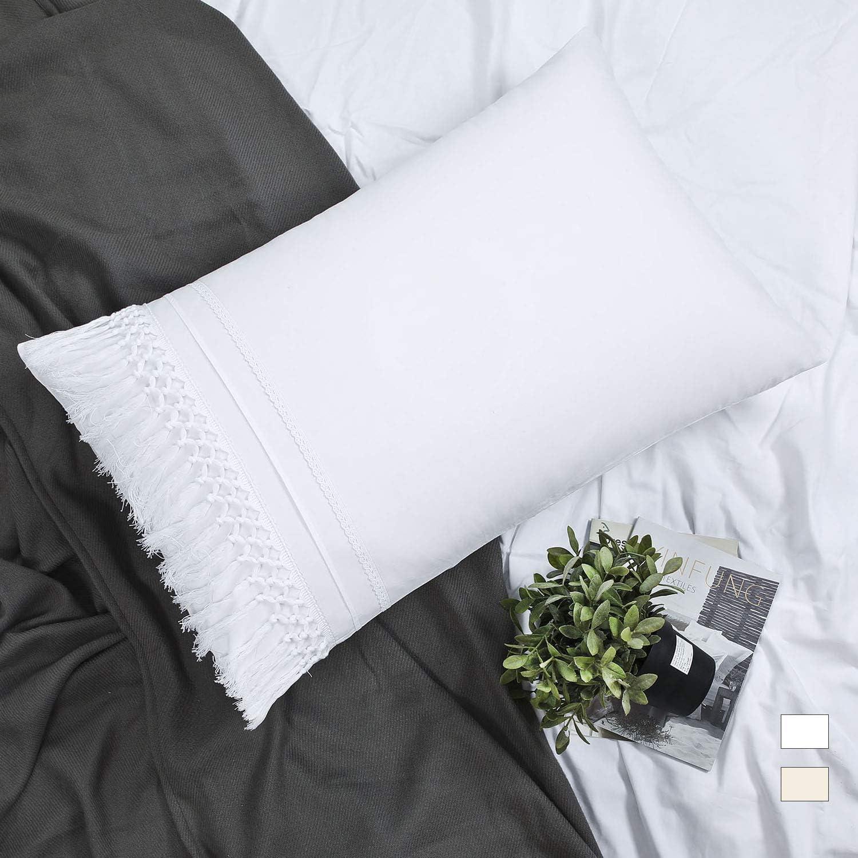 YINFUNG Boho Pillow Shams Standard White Macrame Tassel Pillowcase Set of 2 Fringe Crochet Tufted Cute Elegant Pretty 100% Cotton Romantic 20x26 Pillow Cover