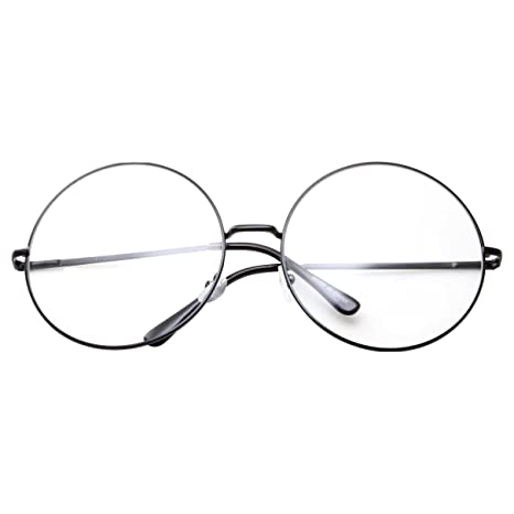 43911045a142 Amazon.com  XXL Super Oversized Fashion Glasses Round Circle Frame Clear  Lens Black  Clothing