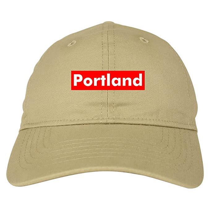 471bf50acc4 Portland Oregon State City Red Box 6 Panel Dad Hat Beige at Amazon ...