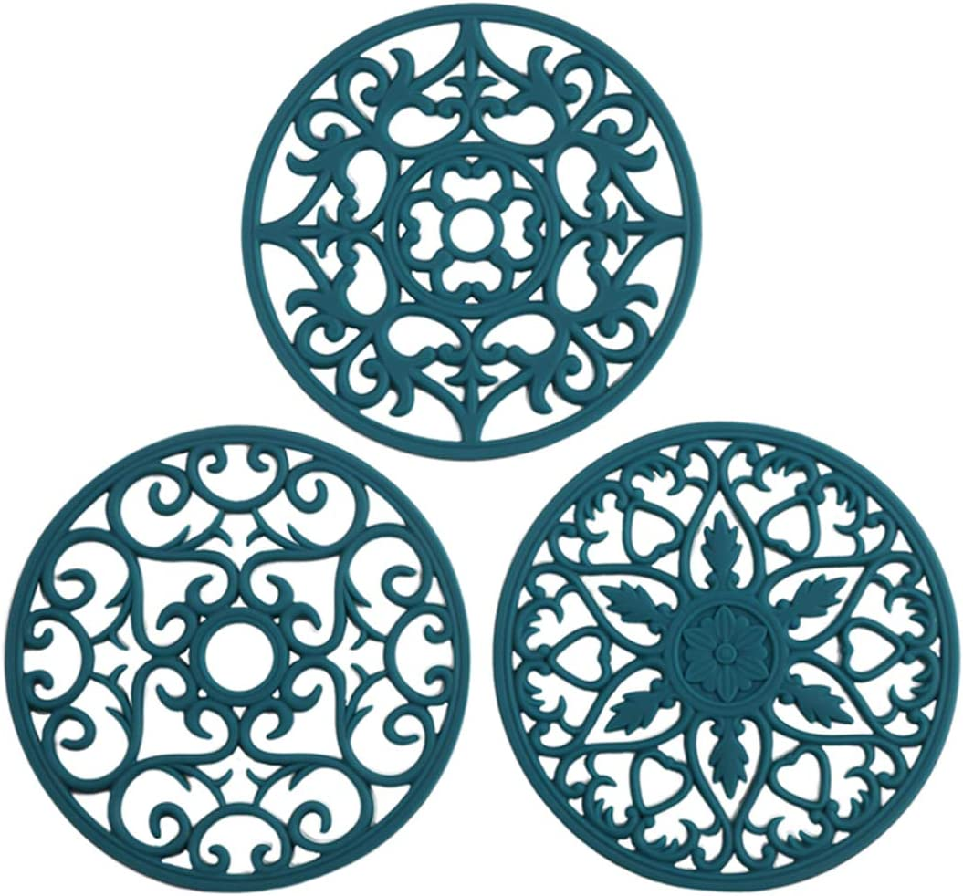 Colinda Silicone Trivet for Hot Dishes, Hot Pot and Pads - Protect Countertop from Hot Pot and Pans Coming Out from the Oven or Stove - Non-Slip & Heat Resistant,Teal,Set of 3