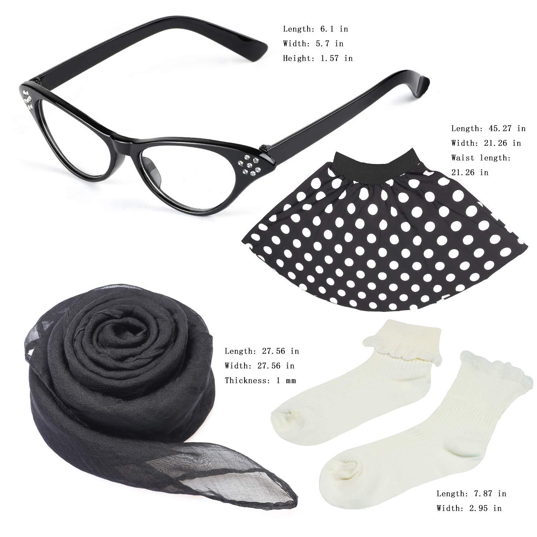 Beelittle 50s Costume Accessories Set Girl Vintage Gonna a Pois Sciarpa Fascia//Bobby Calzini Cat Eye Glasses 50s Costume Bambino