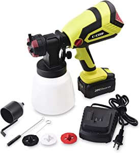 CACOOP Cordless Paint Sprayer Gun With 4.0Ah Battery and Rapid Charger,Battery Powered HVLP Wireless Paint Sprayer Tool for Household DIY