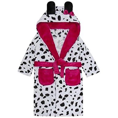 ... Girls Fleece Bathrobe  new concept b075c 0bed0 Mini Kidz Dalmatian Dressing  Gown Lounge Coat Hooded Plush Fleece Design ... 33e51fd58