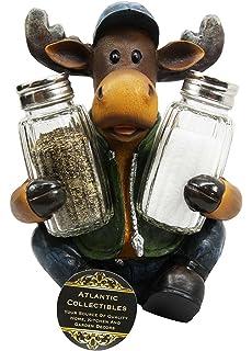 Atlantic Collectibles Comical Camper Moose Decorative Glass Salt Pepper  Shakers Holder Resin Figurine